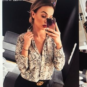 Women's Long Sleeves Leopard Casual Button Blouse